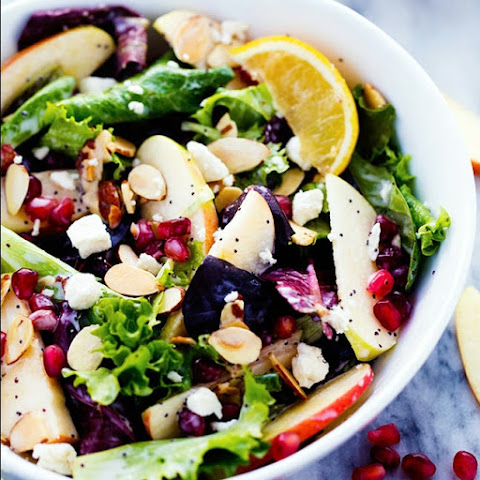Apple Pomegranate Almond Salad with a Creamy Lemon Poppyseed Dressing