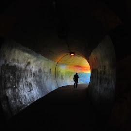 Hope by Grant Goeieman - City,  Street & Park  Street Scenes ( contrast, colour, person, dark, rainbow, people, man, colours, tunnel,  )