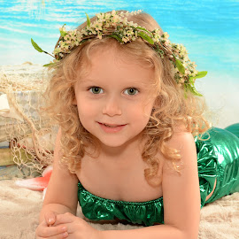 Aulove Mermaid by Marie Burns - Babies & Children Child Portraits ( aulove, girl, tropical, beach, flowers, mermaid )