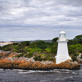 Gateway to Macquarie Harbour by Garry Dosa - Buildings & Architecture Other Exteriors ( sky, whitecaps, blue, lighthouse, ocean, outdors, water )