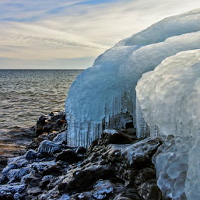 Icy Shores by Jill Beim - Landscapes Waterscapes ( rocky shoreline, ice, icicles, waterscapes, lanscapes )