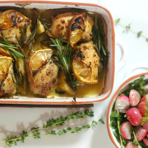Roasted Lemon and Rosemary Chicken Thighs and Roasted Radish Salad