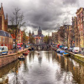 Canals in Amsterdam by Peter Kennett - Travel Locations Landmarks ( hdr, holland, amsterdam, canal )