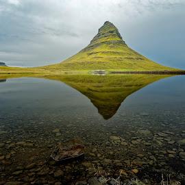 Kirkjufell, Iceland by Michaela Firešová - Landscapes Mountains & Hills ( reflection, iceland, mountain, pyramid, lake )