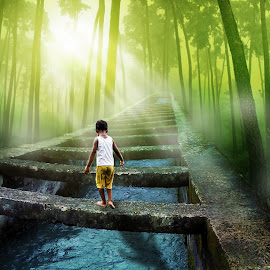 No Fear by Ka Seng - Digital Art Places ( ray of light, children, forest )