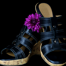 by Dipali S - Artistic Objects Clothing & Accessories ( shoes, handcraft, purple, decorative, clothing, sandal, object, man made, accessory, artistic, chrysanthemum, leather, flower, design,  )