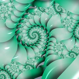 Spiral 32 by Cassy 67 - Illustration Abstract & Patterns ( shell, pastel, green, swirl, wallpaper, spiral, digital, modern, pearl, abstract art, digital art, harmony, fractal, fractals )
