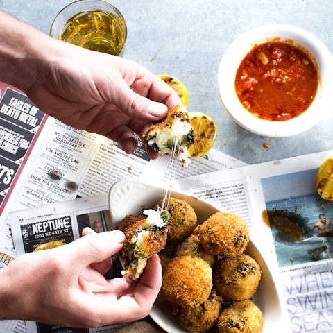 BROCCOLI RABE ARANCINI WITH MARINARA SAUCE