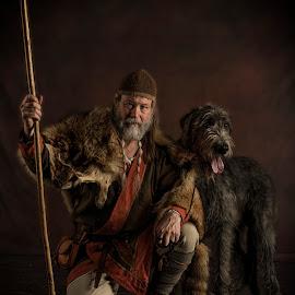 Saxon Hunter by Anthony Wood - Animals - Dogs Portraits ( warrior, wolfhound, wolf, hound, saxon, dog, portrait )