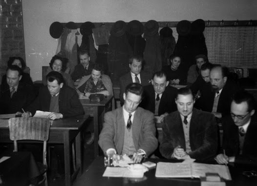 Matz (second row, first on right) participates in a jury, apparently, for students at the Zagreb Academy of Music.