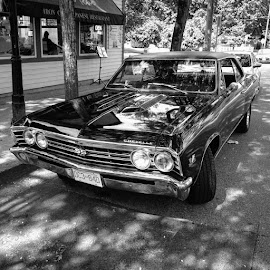 Chevelle by Ernie Kasper - Instagram & Mobile iPhone ( muscle car, grill, black and white, automobile, vehicle, beautiful, wheels, chrome, shadows, character, classic car, style, headlights, instacar, ss, bnw, hood, design, classic )