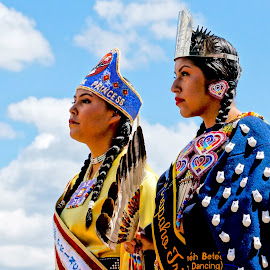 Pretty at the Pow Wow by Barbara Brock - People Portraits of Women ( two native women, native american women, women in native costumes, american indian women )