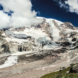 Rainier by Judi Kubes - Landscapes Mountains & Hills ( glacier, sky, mountain, blue, mount rainier, snow, cloud, rock, dirt,  )