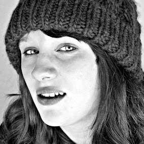 by Holly Williamson - People Portraits of Women ( winter, girl, black and white, woman, bw, portrait, eyes, hat )