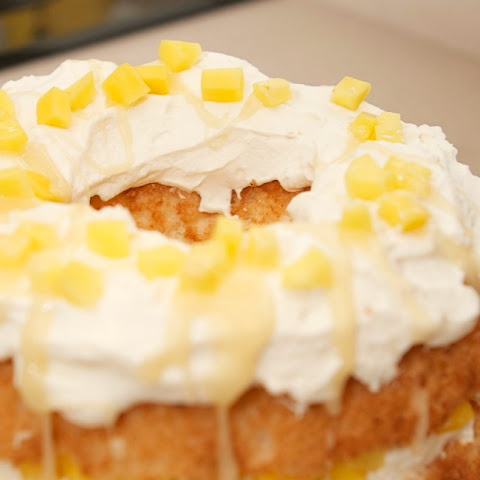 Mango Angel Food Cake with Whisky Cream