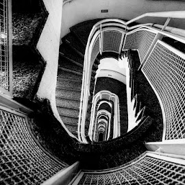 Staircase by Pravine Chester - Black & White Buildings & Architecture ( building, monochrome, black and white, staircase, architecture, photography )