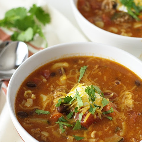 Ground Pork Chili Macaroni Soup