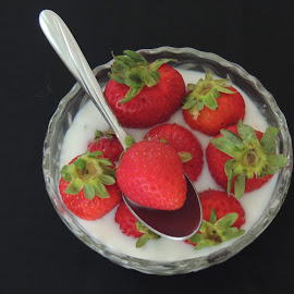 STRAWBERRIES & MILK by Laura Cummings - Food & Drink Fruits & Vegetables ( strawberries & milk,  )