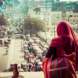 The City Below by Dave Hall - City,  Street & Park  Street Scenes ( woman, cars, hyderabad, street, india )