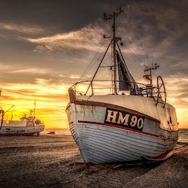 Gutterne på Kutterne by Ole Steffensen - Transportation Boats ( jammerbugten, sunset, sea, thorup strand, beach, denmark, boat, fishing vessel )