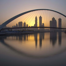 The Eye by Rolly Batacan - Buildings & Architecture Bridges & Suspended Structures ( sunrises, creek, long exposure, bridge, morning, landscapes )