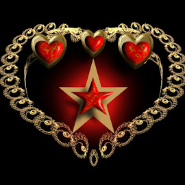 Harley Heart by Nancy Bowen - Illustration Products & Objects ( heart, chain, stars, gold )