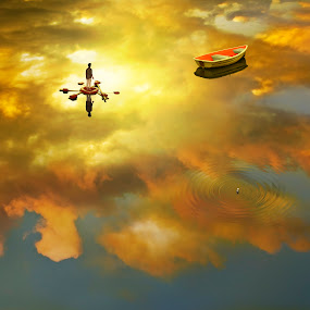 Helpless by William Lee - Digital Art Places ( clouds, water, reflection, can, ripples, sunset, ocean, yellow, boat, raft, man,  )