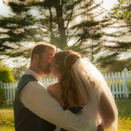 Afternoon Kiss by Chris Cavallo - Wedding Bride & Groom ( wedding photography, maine, weddings, wedding day, wedding, bride and groom, golden hour,  )