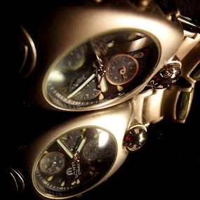 Watch in the dark by László Nagy - Artistic Objects Clothing & Accessories ( time, watch, shadow, dark, white, black )
