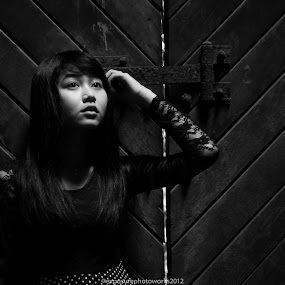 look up by Teguh Adi - People Portraits of Women ( woman, green, hair, wall, black, eyes )