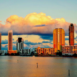 Sunrise on Williams Island by Neil Dern - City,  Street & Park  Skylines ( water, colors, buildings, sunrise, landscape )