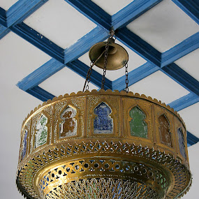 Antique Moroccan lamp by Gale Perry - Artistic Objects Antiques ( ornate, ceiling, multi-colored insets, lamp, brass, antique, moroccan,  )