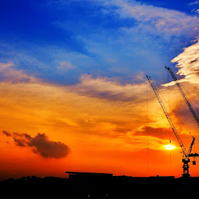 Colourful  by Sim  Chee teck - Landscapes Travel ( tower crane . sky . colourful . same . two )