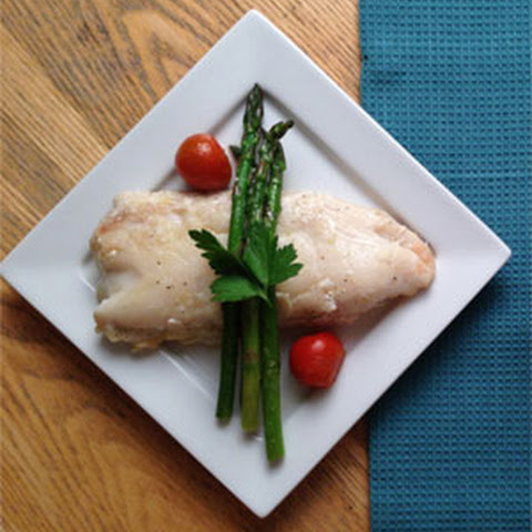 Pan Fried Hake with Coconut Rice and Asparagus