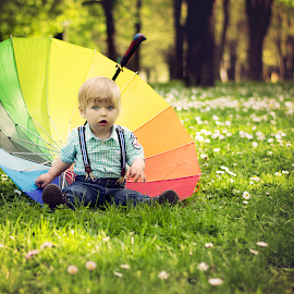 Joan and the Rainbow by Antonina Valcheva - Babies & Children Toddlers ( child, natural light, park, umbrella, blue eyes, toddler, bokeh, spring )
