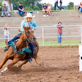 Barrel racing by Scott Thomas - Sports & Fitness Rodeo/Bull Riding ( barrel racing, horse, fast, racing, cowgirl )