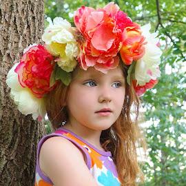 Flower Halo by Cheryl Korotky - Babies & Children Child Portraits