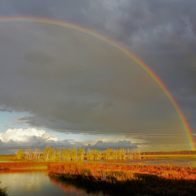 Rainbow Over Shiawassee by Kathy Woods Booth - Landscapes Weather ( cloud formations, michigan, waterscape, weather, rainbow )