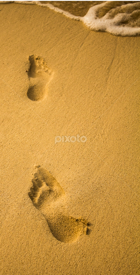 foot prints by Paul Scullion - Abstract Fine Art ( water, footprints, sand, walking, fine art, sea, beach )