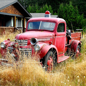 The Stories I Could Tell... by Campbell McCubbin - Transportation Automobiles ( pumper truck, red, fire truck, abandoned, fire engine )