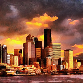 Seatlle Storm by Gaylord Mink - Digital Art Places ( clouds, skyline, seatlle )