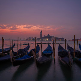 Venice by Yordan Mihov - City,  Street & Park  Historic Districts ( sunrise, pretty, church, lord, winter, long exposure, clouds, water, house, sun, boat, sea, building, gondola, low light, venice, blue, sunset, venezia )