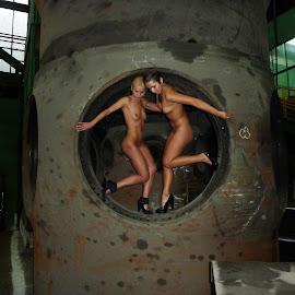 Giant Turbine by Sergio Morariu - Nudes & Boudoir Artistic Nude ( industrial, turbine, dark, blond, factory, nudes )