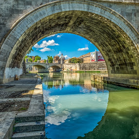 Under the Bridge by Nitescu Gabriel - Buildings & Architecture Bridges & Suspended Structures ( water, cityscapes, reflection, europe, arch, waterscape, reflections, architecture, cityscape, euro, photography, city, european, stairs, sky, rome, bridge,  )