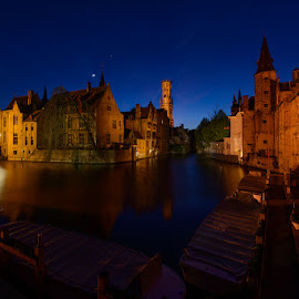 Bruges at Night by Scott Flaherty - Buildings & Architecture Public & Historical ( water, europe, bruges, night, belgium, travel )