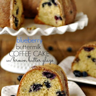 Blueberry Buttermilk Coffee Cake with Browned Butter Glaze