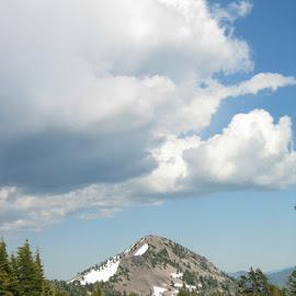 Clouds over Lassen Peak by Christine B. - Landscapes Cloud Formations ( clouds, mountain, trees, lassen peak, lassen national park )
