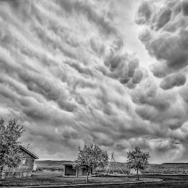 Mammatus Blanket by Gary Piazza - Landscapes Cloud Formations ( clouds, mammatus clouds, desert, black and white, landscapes, storm, burns oregon )