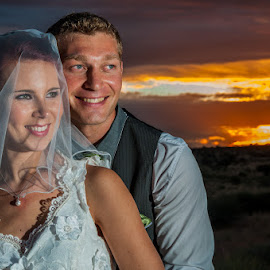 Looking Happy by Johan Jooste Snr - People Couples ( married, wedding, happy, couple, portrait, smiling, namibia )