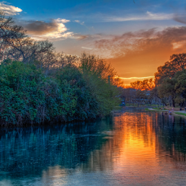 Fiery Reflection by Tom Weisbrook - Landscapes Sunsets & Sunrises ( calm, water, peaceful, prince solms park, serenity, sunset, new braunfels, texas, reflections, cypress trees, hill country, comal river )